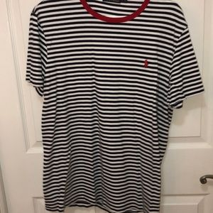 Blue and white striped polo t shirt
